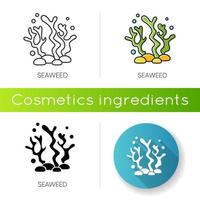 icona di alghe. componente naturale. prodotto per il trattamento della cura della pelle. vettore