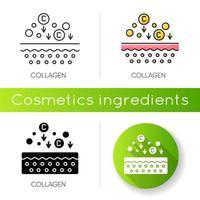 icona di collagene. componenti chimici. dermatologia e cosmetologia. trattamento per la cura della pelle. vettore