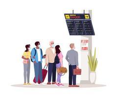 folla nella hall del terminal dell'aeroporto semi piatto rgb illustrazione vettoriale a colori. aereo in ritardo.