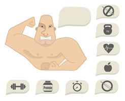 torso del bodybuilder con bolle di discorso. volto teso vettore