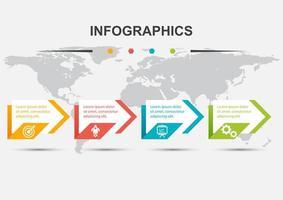 modello di progettazione infografica con freccia in 4 passaggi vettore