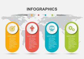modello di progettazione infografica con 4 etichette vettore