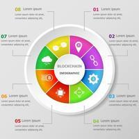 modello di progettazione infografica con icone blockchain vettore
