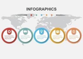 cerchi modello di progettazione infografica con ombra vettore