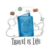 Passaporto con elementi di viaggio intorno al tempo di viaggio