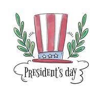 cappello del presidente americano tra rami e nuvole vettore