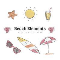 Raccolta di elementi di viaggio e spiaggia in estate vettore
