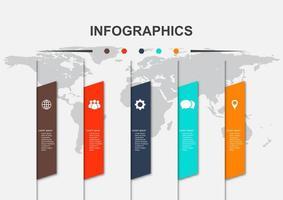modello di progettazione infografica con 5 opzioni vettore