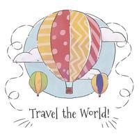 Ballon dell'aria sveglia in cielo con le nuvole vettore