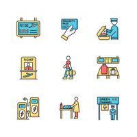 set di icone di colore rgb terminal dell'aeroporto. pannello delle informazioni di volo. pass prioritario. controllo di sicurezza bagagli. biglietto per aereo. processo di imbarco dei passeggeri. illustrazioni vettoriali isolate