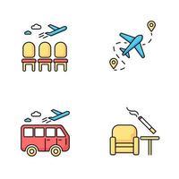 set di icone di colore rgb terminal dell'aeroporto. area di attesa per i passeggeri. sala aerei con posti vuoti. partenza dell'aereo. zona fumatori all'interno. destinazione del viaggio. illustrazioni vettoriali isolate