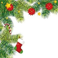 calzino con canna dolce e fiori in decorazione natalizia vettore