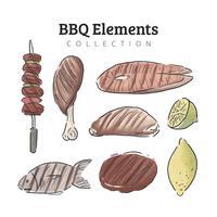Acquerello barbecue carne e raccolta di cibo vettore