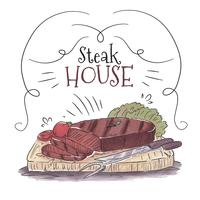 Fondo del BBQ dell'acquerello con il tavolo di legno di bistecca sopra