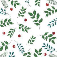 pattern di rami con foglie e semi