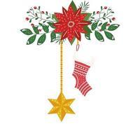 calzino e stella di Natale appesi con fiore icona isolato vettore