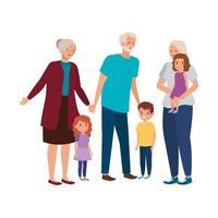 nonni con personaggio avatar nipoti vettore