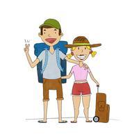 Coppie felici sveglie con i vestiti di viaggio