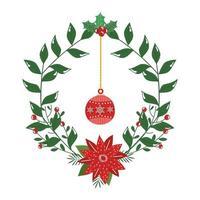 corona decorativa natalizia con fiore e palla appesi vettore