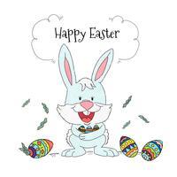Coniglietto di Pasqua con sfondo di uova colorate