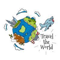 Mondo dell'acquerello con aeroplano per viaggiare per il mondo vettore