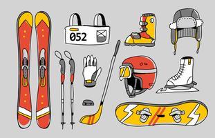Illustrazione disegnata a mano di vettore del corredo olimpico degli sport invernali