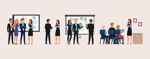 set di scene uomini d'affari che si incontrano con la presentazione di infografica vettore