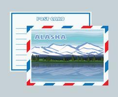 Vettore della cartolina di Mountainscape dell'Alaska