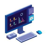 desktop del computer con statistiche e app menu