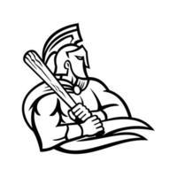 guerriero spartano o trojan con mascotte di battuta di mazza da baseball vettore