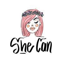 Lettering About Women's Day With Cute Woman con corona di capelli e fiori rosa