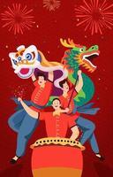 danza del drago cinese vettore