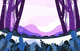 bellissimo inverno nella foresta vettore