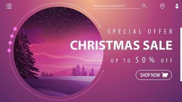 offerta speciale, saldi natalizi, fino a 50 sconti, bellissimo banner sconto moderno rosa con paesaggio invernale sullo sfondo vettore