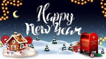 felice anno nuovo, cartolina di auguri con foresta invernale dei cartoni animati, cielo stellato, ghirlanda, bellissime scritte, cassetta delle lettere di Babbo Natale con regali e casa di marzapane di Natale vettore