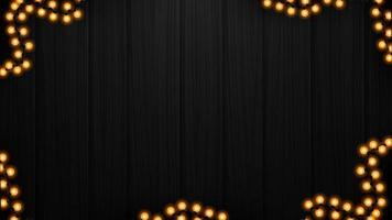 struttura in legno nero con ghirlanda gialla, sfondo per le tue arti vettore