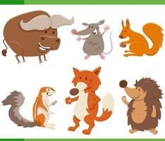 collezione di personaggi di animali selvatici divertenti cartoni animati vettore