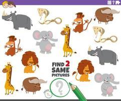 trova due stessi animali gioco di immagini per bambini vettore