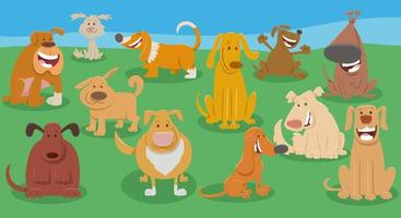 gruppo di personaggi animali dei cartoni animati cani divertenti vettore
