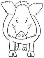Cinghiale fumetto carattere animale libro da colorare pagina vettore
