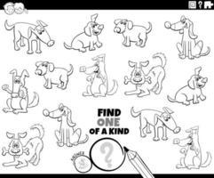 gioco unico nel suo genere con la pagina del libro a colori dei cani vettore