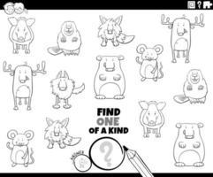 unico nel suo genere gioco con animali da colorare pagina del libro vettore