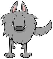 lupo grigio fumetto carattere animale selvatico vettore