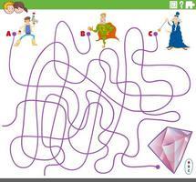 gioco di labirinti educativi con personaggi fantasy vettore