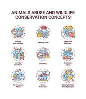 set di icone di concetto di abuso di animali e conservazione della fauna selvatica