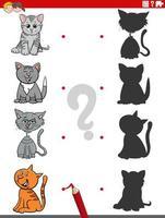 gioco di ombre con personaggi di gatti divertenti vettore