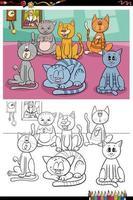 Pagina del libro da colorare di gruppo di gatti divertenti del fumetto vettore
