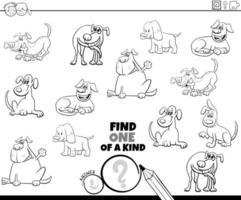 unico nel suo genere gioco con i cani da colorare pagina del libro vettore