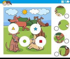abbina pezzi puzzle game con gruppo di cani dei cartoni animati vettore