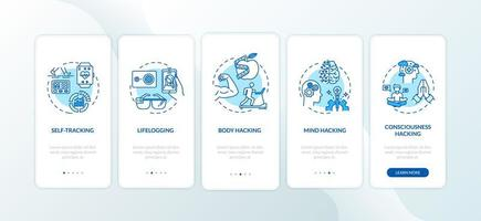 elementi di biohacking nella schermata della pagina dell'app mobile con concetti